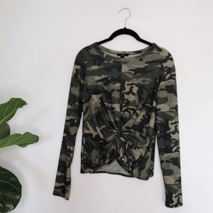 Camo Knot Long Sleeve Crop Top Drew Anthropologie
